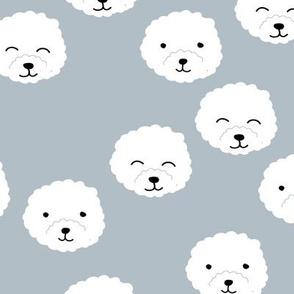 Little adorable fluffy puppy Pomeranian dogs minimal kawaii kids design cool moody blue boys