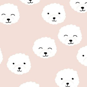 Little adorable fluffy puppy Pomeranian dogs minimal kawaii kids design soft beige sand