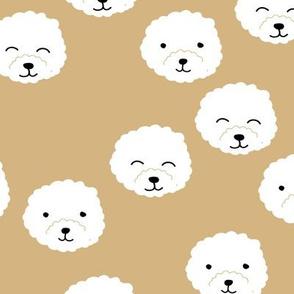 Little adorable fluffy puppy Pomeranian dogs minimal kawaii kids design soft ginger yellow