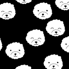 Little adorable fluffy puppy Pomeranian dogs minimal kawaii kids design monochrome black and white