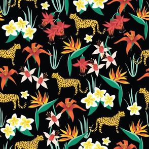 Cheetahs Between Tropical Flowers