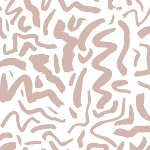 Messy ink dashed and brush strokes abstract paint minimal trend design boho style nursery latte beige on white