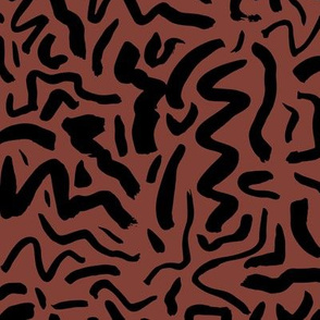 Messy ink dashed and brush strokes abstract paint minimal trend design boho style nursery chocolate brown black