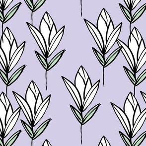 Inky texture tulip flower and leaves abstract garden botanical boho design neutral earthy nursery violet lavender mint white