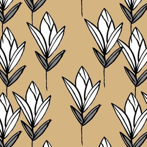 Inky texture tulip flower and leaves abstract garden botanical boho design neutral earthy nursery ginger gray white