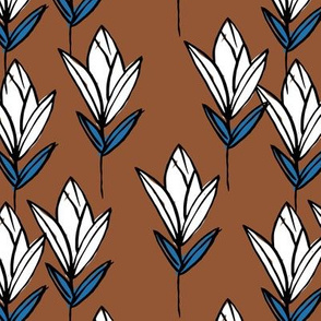 Inky texture tulip flower and leaves abstract garden botanical boho design neutral earthy nursery rust copper blue white