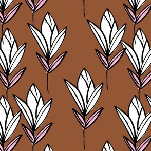 Inky texture tulip flower and leaves abstract garden botanical boho design neutral earthy nursery rust copper pink white black