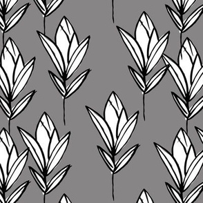 Inky texture tulip flower and leaves abstract garden botanical boho design neutral earthy nursery gray black and white