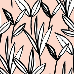 Inky texture wild flowers leaves and abstract garden botanical boho design neutral earthy nursery nude pale apricot black and white