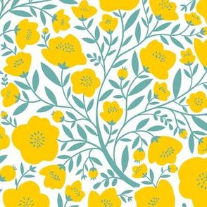 yellow blossoms aqua