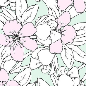 Painted flowers in pastel colors
