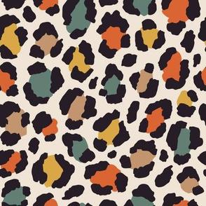 Colored leopard print. Medium scale.