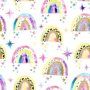 Watercolour Rainbows, Stars and Glitter