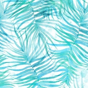"""Turquoise Watercolor Palms 12"""""""