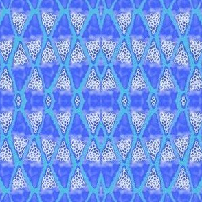 PA_33375_F Abstract Etched Diamonds Blue , White and Turquoise Blue