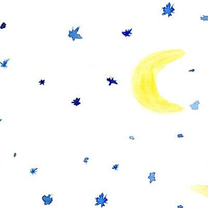 Moons and stars ★ huge scale watercolor night sky pattern for modern nursery, bedding