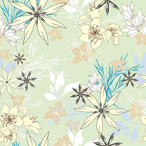 Spring flowers on a pale green background