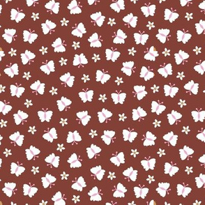 Little butterfly summer meadow garden flowers and butterflies kids design nursery maroon pink