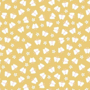 Little butterfly summer meadow garden flowers and butterflies kids design nursery honey yellow pink girls