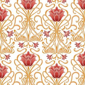 Normal scale • Art Nouveau flowers white