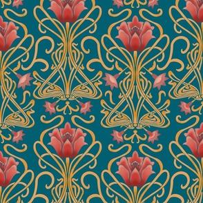 Normal scale • Art Nouveau flowers blue