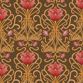 Normal scale • Art Nouveau flowers brown