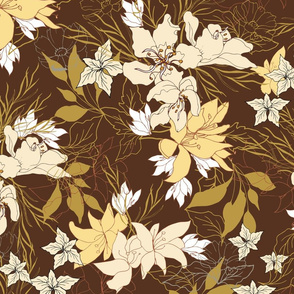 Noble yellow flowers, vintage pattern