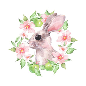 Rabbit with pink flowers. Fat quarter