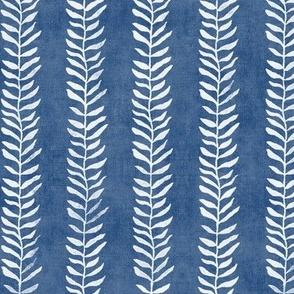 Botanical Block Print in Indigo Blue | Leaf pattern fabric from original block print, plant fabric, white on denim blue.