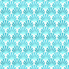 Seashells  tie dye turquoise and teal