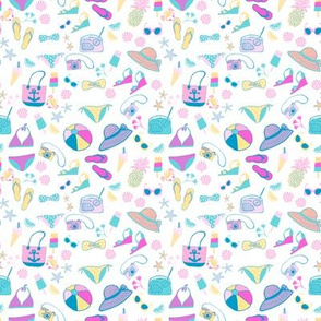 bikini  beach fabric//  retro beach fabric and wallpaper