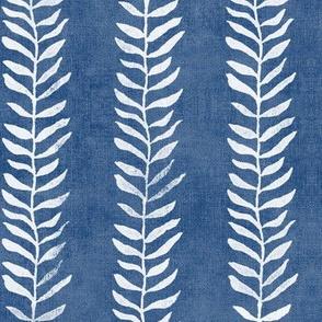 Botanical Block Print in Indigo Blue (large scale) | Leaf pattern fabric from original block print, plant fabric, white on denim blue.