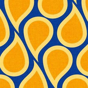 Orange drops on classic blue textured bg