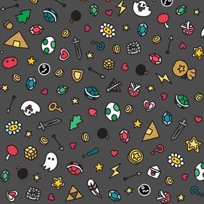Gamer Doodles Medium Dark Grey