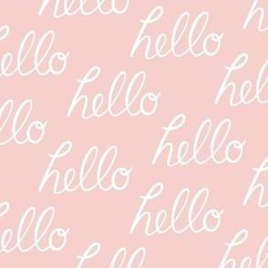Hello - white on pink