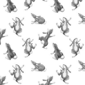 Dancing Bunnies Gray and White