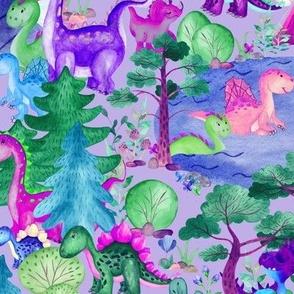 Large Dinosaurs Camping Watercolor Dino Camp