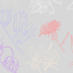 Flower line art on lilac background