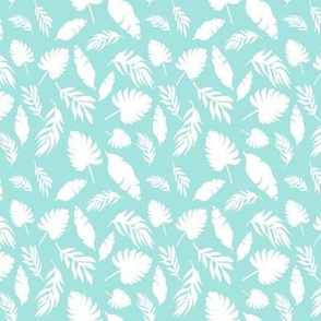 Palm leaf mint and white tropical