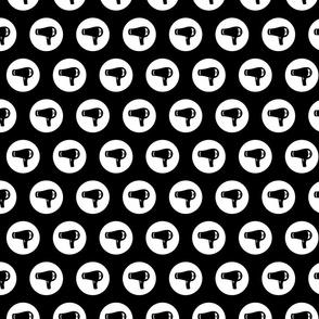 Blow Dryer Icon Circles on Black Salon & Barbershop Pattern