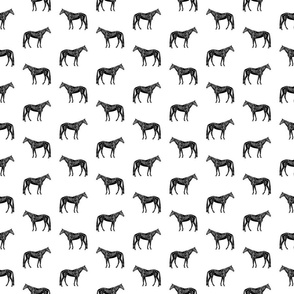 Old Fashioned Horse Black & White Pattern