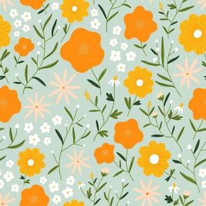 Cute spring garden abstract orange flowers pattern