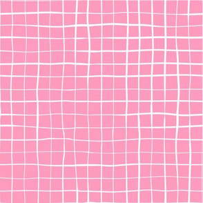 White hand-drawn lines crisscrossing on a pink background