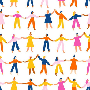 People holding hands, worldwide international friendship bright pattern