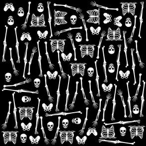 Black and White Skeleton Print