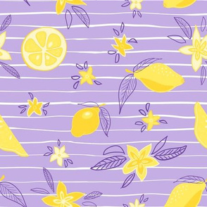 Lovely lemons and yellow flowers on a purple and white striped background