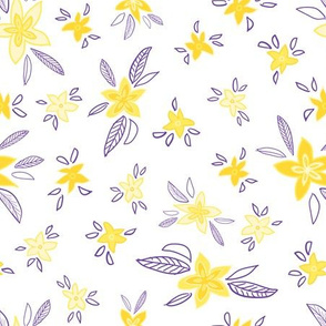 Yellow flowers with purple leaves on a white background