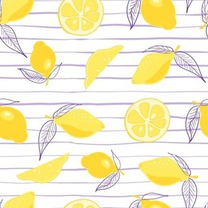 Yellow hand-drawn lemons on a white background with purple stripes