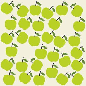Green Apples Print on Beige Background