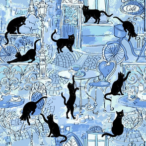 Black cat caffe blue